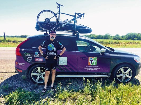"""Eric McIntyre offers hope to pancreatic cancer patients on his 7,200 mile """"Pancreatic Cancer Victory Tour."""" He will leave Ruidoso Saturday, heading to Socorro through Carrizozo."""