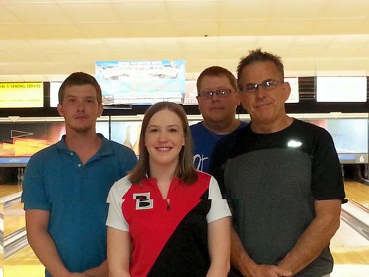 These four bowlers were what was left after the four- game qualifying of the Cedar Lanes House Championship. They are,from left, Mike Zombro, Kerry Smith, Ben Martinez and champion Darren Zombro Jr. (in back).