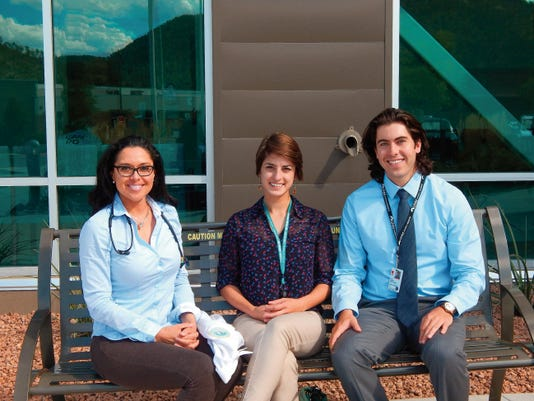 UNM medical students (from left): Stephanie Briones, Yana Zemkova and Justin Ocksrider.
