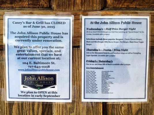 SUBMITTED   The owners of the John Allson Public House restaurant have purchased Casey's Bar & Grill in Greencastle and plan to move the restaurant to the Casey's property.