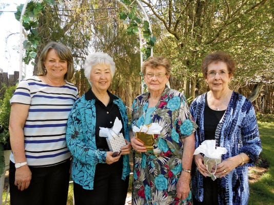 Courtesy Recognized by the group are members shown from left): Donna Sisneros — newly elected president; Betty Ann Bell — member for 25 years; Virginia Tingley — member for 50 years and Ruby Dulin — member for 25 years.