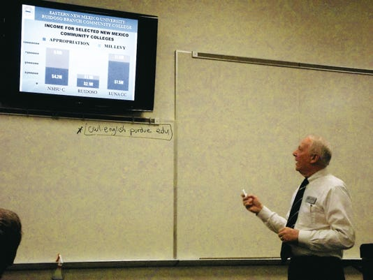ENMU-Ruidoso President Dr. Clayton Alred explains contibuting factors to the tuition increase in a recent meeting.