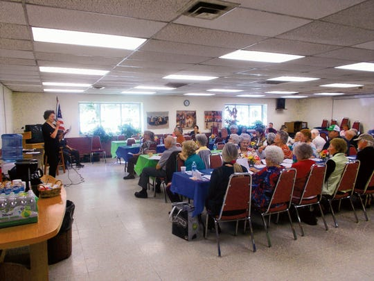 Dr. Clara Farah speaks to attendees Tuesday at the Senior Jubilee. The day was filled with presentations on a variety of topics pertinent to senior citizens.
