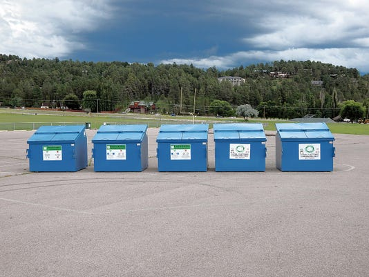 Recycling bins at White Mountain Sports Complex.
