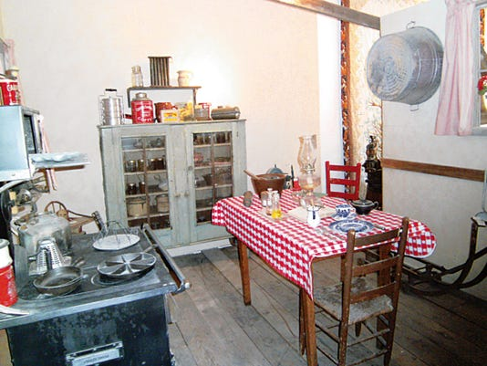 Ranch kitchen of the 30s: Local ranchers donated mementoes of Thirties' ranch life, a vital economic source around Carrizozo.