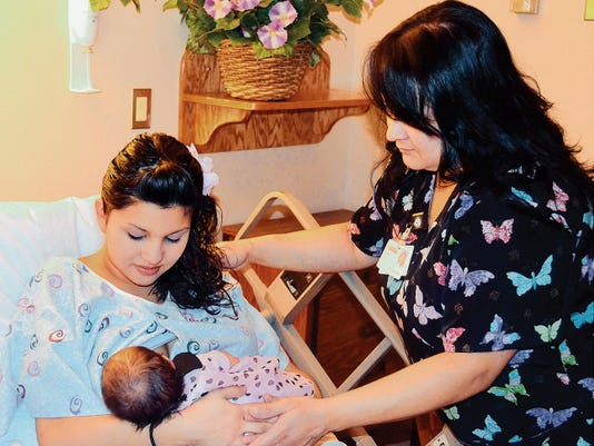 Aymme Marquez, breastfeeds her baby Dairr Adamarism Marquez, at Gila Regional Medical Center. The hospital was recently recognized as a Baby Friendly birth facility. Courtesy Photo