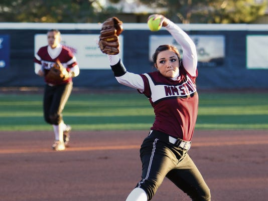 Courtesy photo   New Mexico State freshman Dallas McBride was named the WAC Freshman of the Year for the NMSU softball team this year, helping the Aggies advance to this weekend's NCAA Regional in Tucson, Ariz. The Aggies play Minnesota tonight.