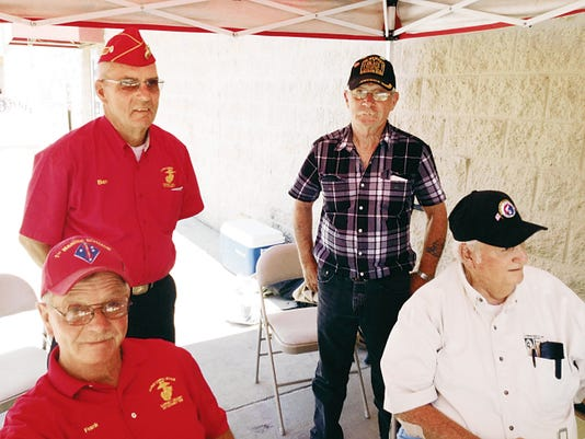 "Members of the Gaffney-Oglesby Detachment No. 1328 Êof the Marine Corps League were at Walmart on June 20 selling raffle tickets for the ""First and Last Raffle.Ó Members included, front from left, Frank Donohue and Cliff Tavernier; back from left, Ben Collins and George Morrison. Shannon Seyler - Sun-News"