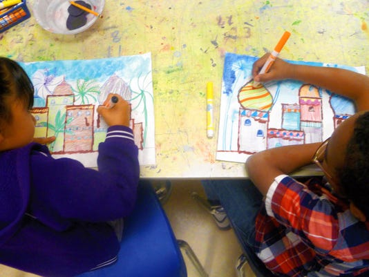 Courtesy Photo   Students in Mr. Simms art class at Bataan Elementary School are creating artwork for their thirrd annual Children's Art Show and Auction to benefit the Cancer Support Group of Deming and Luna County, Inc..