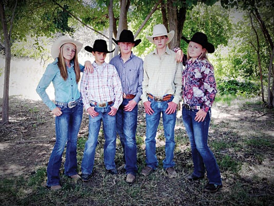 From left, Shacie Marr, Landyn Wimsatt, Owen Pruett, Tadd Dictson and Nakona Danley will be competing at the National Junior High Finals Rodeo in Des Moines, Iowa from June 21-27. Cleve Griffin is not pictured.