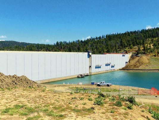 A view of Grindstone Dam with the liner nearly completed.