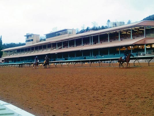 Morning workouts on the race track. Some horses practicing for opening day May 22.