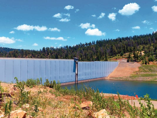 The installation of a liner to stop leakage is finished at Grindstone Dam. Ruidoso officials are working with regulators to secure approval to turn on the diversion from the Rio Ruidoso to refill the reservoir.