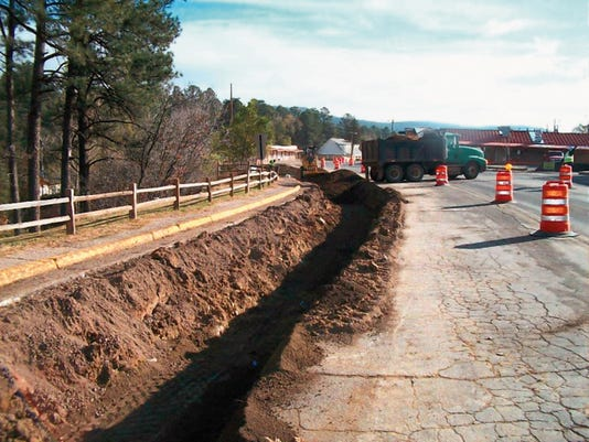 A ditch dug to accommodate one interconnection water line on Sudderth Drive at Upper Canyon.