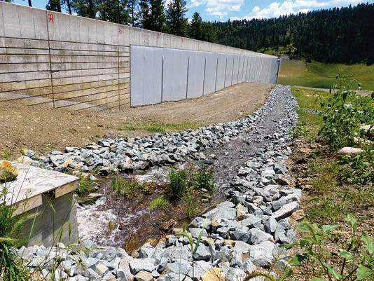 A steady stream of water diverted from the Rio Ruidoso is refilling Grindstone Reservoir, a major water supply source for Ruidoso.