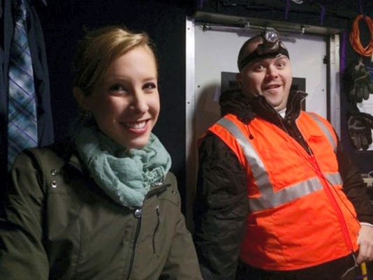FILE - This undated file image made available by WDBJ-TV shows reporter Alison Parker, left, and cameraman Adam Ward. A memorial service for Ward was scheduled for Monday, Aug. 31, 2015, in Roanoke, Virginia. (Courtesy of WDBJ-TV via AP, File)