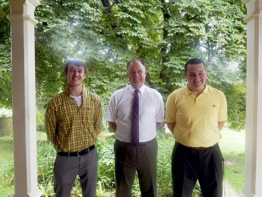 Submitted Two college students received scholarships from the Ralph L. Weik Memorial Scholarship Fund at Cornwall Manor. Pictured at the recent check presentation are, from left, Jarrod Cruise, Cornwall Manor President Steve Hassinger and Andrew Fox.
