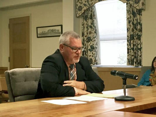 Jim Donmoyer, director of the Lebanon County Commission on Drug and Alcohol Abuse, updates the Lebanon County commissioners on Thursday about the formation of a heroin task force in the county.