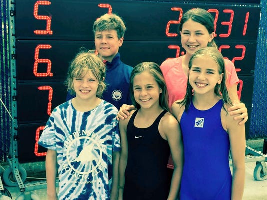 The five members of Shippensburg Aquatic Club who participated in the Long Course Junior Olympics last weekend were, front row, left to right, Brandon Estep, Kari Powell and Jillian Strine; back row, Lek Powell and Julia Strine.