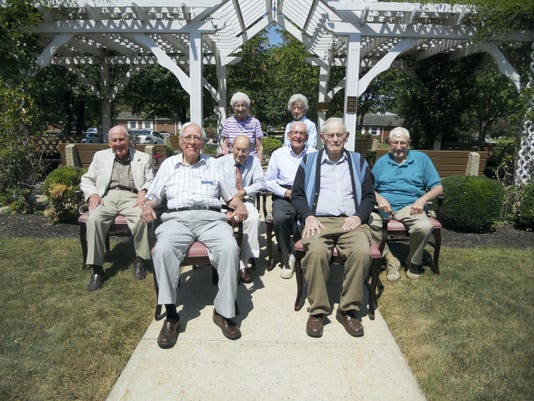 Pictured at Chambersburg High School class of 1937's 78th reunion are, front row, Harry L. Oyler, left, and Richard Hamsher. Second row: Glen Angle, Floyd Johnston, Russell Rowe and William L. Myers. Standing are Sylva (Hartzok) Hoover and Florence (Fisher) Pheil.