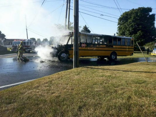 SUBMITTED There were no injuries Monday when a Chambersburg Area School District bus caught fire shortly after 8:30 a.m. in Greene Township. All 11 elementary students and a driver got off the bus safely. This photo was provided by Pleasant Hall Fire Company.