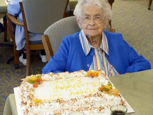 """Ester Harman, Personal Care's oldest resident, celebrated her 101st birthday on Sept. 23. Harman is an Adams County native and former church organist who worked for the Church of the Brethren Home when it was located at the intersection in the old Cross Keys Hotel roughly 60 years ago. Harman quipped during lunch in her Personal Care neighborhood that her birthday was """"already over,"""" because she had been born earlier in the morning. Team members persuaded her that it would be okay to celebrate all day, given this special occasion."""