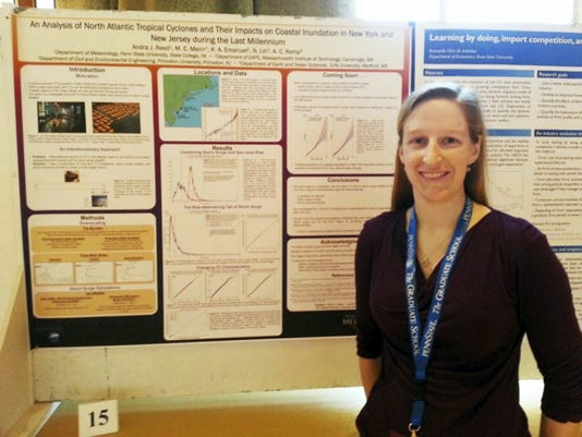 Mercersburg native Andra Reed has become a star in the science world since her research on climate change and its impact on flooding was published in a prominent journal. Here, she is pictured at a conference where she presented her research.