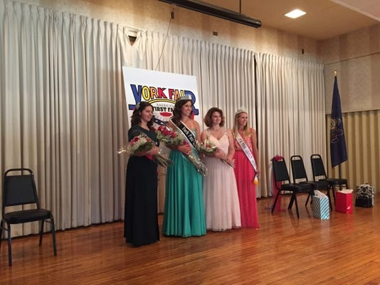Alexis Cash, 19, of Manchester Township, was crowned the 2015 York Fair Queen on Saturday. Pictured from left to right are first runner-up Taylor Shultz, 17, of Dover Township; Cash; second runner-up Jacklyn Henshaw, 16, of Red Lion; and 2014 York Fair Queen Alana Eisenhour.