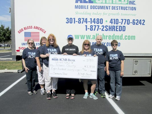 The United Way of Adams County received 878 from the Community Shred Event held by ACNB Bank. The contribution was acknowledged at the end of the event. From left, are: Lauren Shutt, ACNB Bank risk manager; Sandi Boyd, customer service specialist at ACNB Bank's South Hanover office; Helen Jahn, ACNB Bank corporate relations officer; Vickie Corbett, executive director of the United Way of Adams County; Sharon Groft, teller supervisor at ACNB Bank's Adams Commerce Center office; Nate Fuhrman, ACNB Bank applications analyst; and Denise Descheemaeker, ACNB Bank marketing specialist.