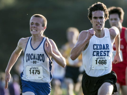 Cedar Crest's Jesse Cruise fights past Cocalico's Evan Kreider to finish 12th and help the Falcons finish third as a team.