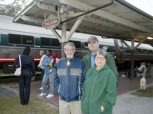 Doug Claborn, of Shrewsbury Township, is shown with his parents, Kenneth and Lorraine Claborn, at the DeLand, Fla., Amtrak station, on December 24, 2004. Doug Claborn and his siblings plan to honor their parents in a ceremony involving Steam Into History this Saturday.