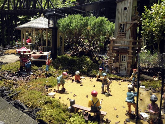 A baseball scene is depicted in the Dennis Creek Model Railroad at the home of Les and Connie Tosten in St. Thomas.   (Amber South -- Public Opinion)