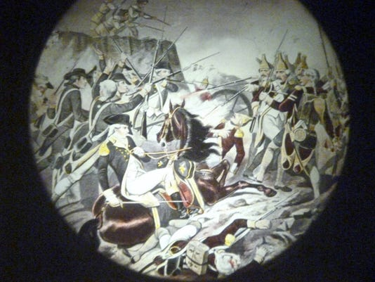 How the battle of Concord and Lexington during the Revolutionary War appears on a big screen when projected by the magic lantern.