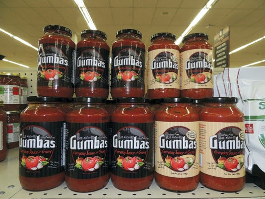 Gumbas pasta sauce is available in original and Romano cheese-flavored. It is available at several local grocery stores and is pictured here at Musser's Market in North Cornwall Township. Brad Rhen -- Lebanon Daily News