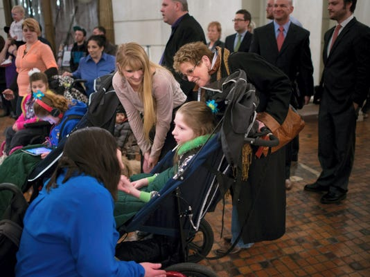Many families with children suffering from forms of epilepsy and other conditions attended a cannabis reform rally at the Capitol rotunda in Harrisburg on Monday.