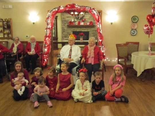 "It was all red hearts, Polka music and love at Acorn Hill Senior Living's annual ""Valentine's Dance"" held in February. Reigning over the gala evening were King Harry Pachniak and his Queen Sophie Pachniak, along with their court of princesses and princes. The Valentine's court was made up of the children, grandchildren and great-grandchildren of the tenants and staff of Acorn Hill. Everyone danced the night away to wonderful music provided by Tom Mijal Polkas Unlimited."