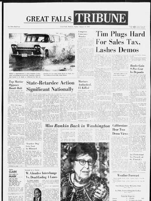 Front page of the Great Falls Tribune on Sunday, Jan. 14, 1968.