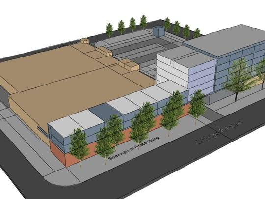 This drawing shows the planned six-story development of the Safeway plaza in Old Town Fort Collins.