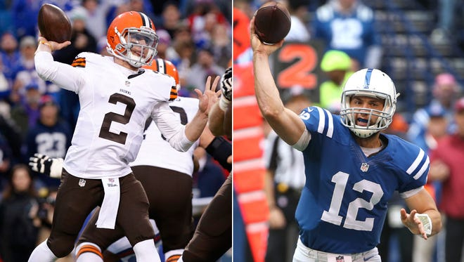 Cleveland's Johnny Manziel (left) and Andrew Luck of the Indianapolis Colts
