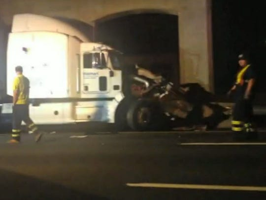 In this image from video the Wal-Mart truck involved