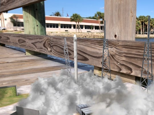 """Using AR technology, the 321 LAUNCH app lets the user """"launch"""" an animated SpaceX rocket in a creative way. The SpaceX rocket launches off a boardwalk in Melbourne."""
