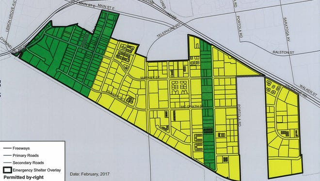 Areas in green and yellow show where an overnight shelter with services could be located in Ventura.