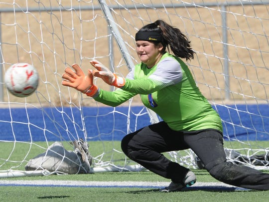 Cooper goalie Brandy Hagood on Jacqeuline Saenz's penalty