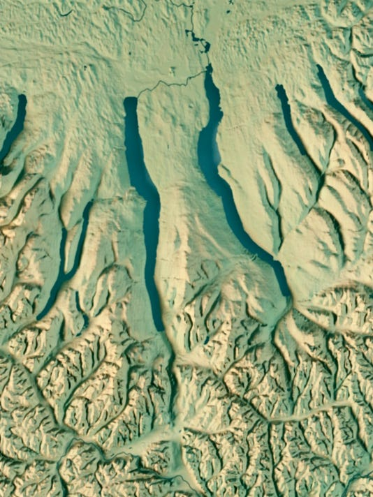 New York State USA 3D Render Topographic Map Border