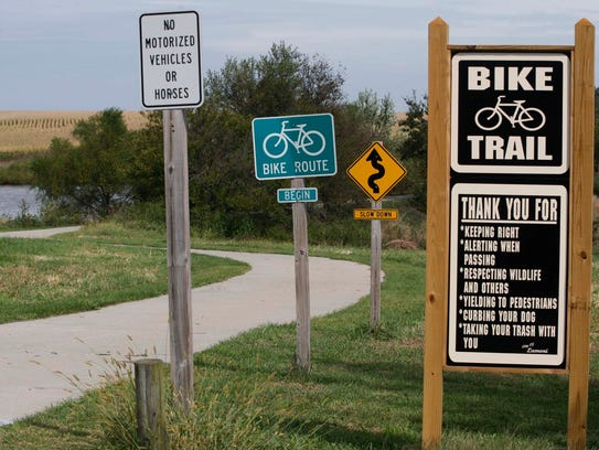 The beginning of the bike trail in Lamoni.