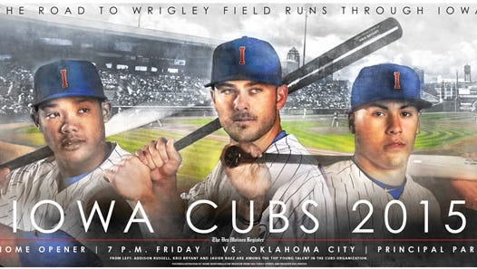 Iowa Cubs poster featuring, from left, Addison Russell, Kris Bryant and Javier Baez.