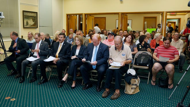 Elected officials and residents fill the room during a public hearing at Village Hall in Croton-on-Hudson on Wednesday, Oct. 19, 2016.