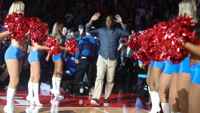 Former Pistons guard Chauncey Billups is introduced during halftime of the Pistons' 105-101 loss to the Wizards in the final game at the Palace of Auburn Hills April 10, 2017.
