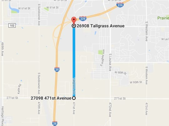 A map of an unpaved portion of Tallgrass Avenue on