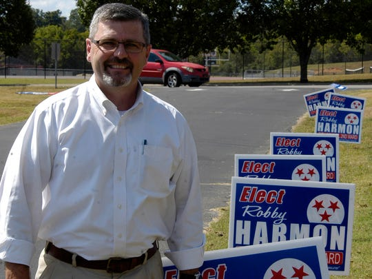 Robby Harmon is pictured outside the Ward 2 precinct